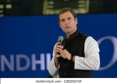 Dubai,UAE-01-11-2019:Rahul Gandhi addressing the crowd at the Dubai Cricket Stadium which was packed with nearly 25000 people.