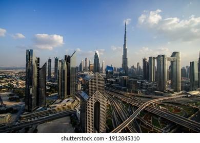 DUBAI,UAE,DECEMBER OF 25 OF 2020: Panorama of down town Dubai modern city at night.