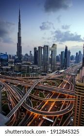 DUBAI,UAE,DECEMBER OF 25 OF 2020: Panorama of down town Dubai modern city at night