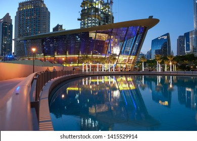 Dubai,UAE/June-1-2019:An evening view of The Opera house which is a famous landmark in Dubai.