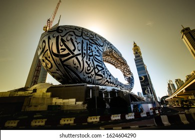 Dubai/UAEmirates - jan 23, 2020: The museum of the future almost complete and finished by Expo 2020 along the Sheikh Zayed Road 1.5 km from the Burj Khalifa. Views from the east, north and south.