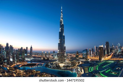 in Dubai/United Arab Emirates- 07/06/2019. view from the ground of Burj Khalifa In Dubai,  look-up photography