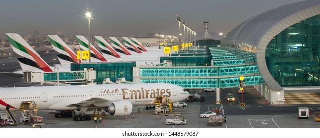 Dubai/United Arab Emirates 08/12/2019 photo from  drone on the Dubai International Airport