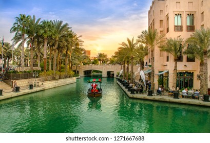 Dubai-United Arab Emirates, December 28 - 2018, Beautiful View of Burj Al Arab in Souk Madinat Jumeirah Dubai, World Famous 7 star hotel and amazing place to visit on holiday, Traditional boat safari