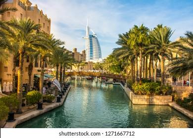 Dubai-United Arab Emirates, December 28 - 2018, Beautiful View of Burj Al Arab in Souk Madinat Jumeirah Dubai, World Famous 7 star hotel and amazing place to visit on holiday