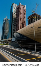 DUBAI,UNITED ARAB EMIRATES, UAE-20th SEPTEMBER 2017- Dubai city boasts some of the most unusual and fascinating architecural designed buildings, incorporating many geometric shapes and patterns