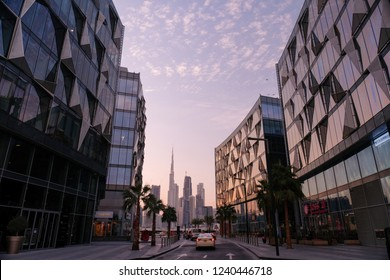 Dubai/united Arab Emirates-11-24-2018:The buildings with an interesting architecture and design at the D3 Design District, Dubai.