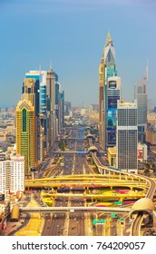 DUBAI,UNITED ARAB EMIRATES-MARCH 17, 2017: Dubai downtown view and Sheikh Zayed road, United Arab Emirates