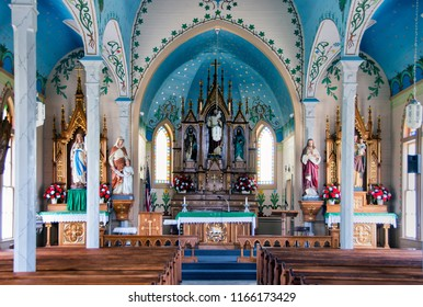 Dubina, Texas / USA - June 15 2013: Saints Cyril and Methodius Church Interior. One of the painted churches of Texas.