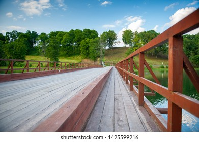 Dubingiai - Asveja wooden bridge. Lake Asveja or Dubingiai Lake is the longest lake in Lithuania. One of the curiosities is a wooden bridge across the lake. It was built in 1934 and is still in use.