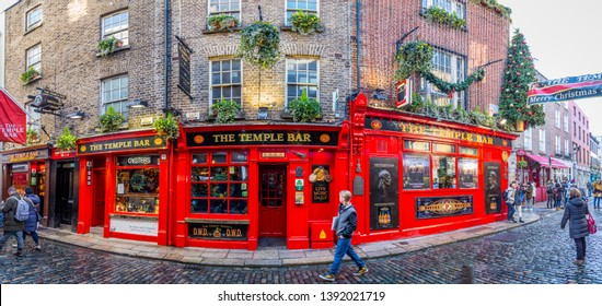 DUBLIN - 8 DECEMBER, 2018. View of a Famous Pub, at the Temple Bar Area in Central Dublin at Christmas Time