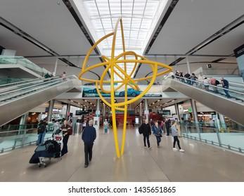 Dublin Airport, Ireland - 26th June, 2019: Interior of Terminal 2 arrivals hall at Dublin Airport, Ireland. Dublin Airport is Ireland's busiest international airport