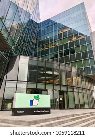 DUBLIN - APRIL 1, 2018: Exterior view of the Facebook corporate office in Dublin, Ireland.