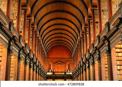 DUBLIN - AUGUST 14 : Trinity College Library on 14 August 2016 at Dublin, Ireland. Trinity College has one of the richest medieval library in Europe.