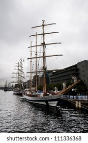 DUBLIN - AUGUST 24: The Pogoria and Fryderyk Chopin, sits in the Dublin harbor on August 24, 2012 in Dublin, Ireland.  These are the tall ships that will participate in the Tall Ships Race
