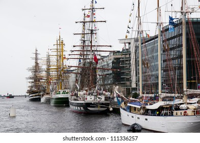 DUBLIN - AUGUST 24: Tall ships sits in the Dublin harbor on August 24, 2012 in Dublin, Ireland. It is a number of tall ships that will participate in the Tall Ships Race
