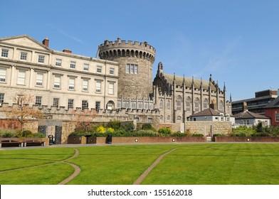 Dublin Castle from Dubh Linn gardens on a sunny spring day, Dublin, Ireland