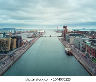 Dublin City Docklands from drone.