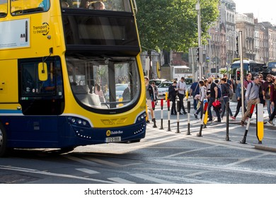 Dublin, College Green / Republic of Ireland - August 2019 - Streets of Dublin during rush hours. People back from work.