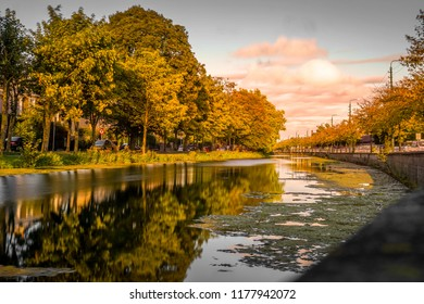 Dublin Grand Canal during sunset . It is a great place to relax your mind up.