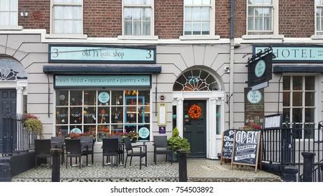 Dublin, Ireland - 02 November 2017: Restaurant and coffee shop on the street of Dublin.