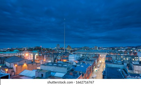 Dublin, Ireland - 03.02.2020 Aerial view  Cityscape view over Dublin famous landmark in Dublin, Ireland Spire of Dublin (Monument of Light) is a large, stainless steel, pin-like monument 121,2 metres