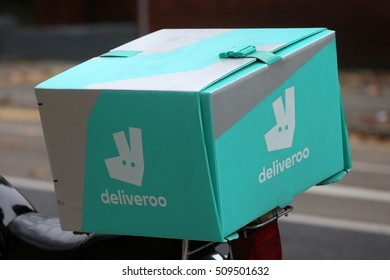 DUBLIN, IRELAND - 03/11/2016A Deliveroo food courier motorbike pictured in Dublin, Ireland
