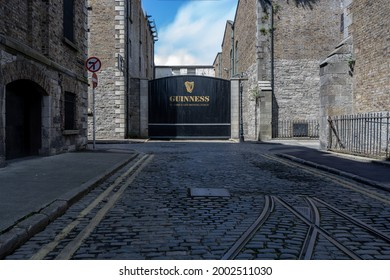 Dublin, Ireland - 05 July 2021: Gate to the Guinness Brewery in the St James Gate Area, Dublin