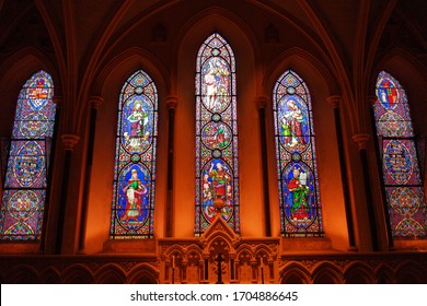 Dublin, Ireland - 05/07/2019 - Stained-glass windows of Dublin's Gothic cathedrals