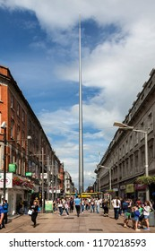 Dublin. Ireland. 06.23.16. The Spire of Dublin, or Monument of Light, is a stainless steel needle 121.2m in height, on the site of the former Nelson's Pillar on O'Connell Street in Dublin, Ireland.