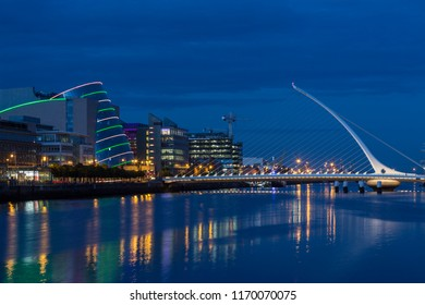 Dublin. Ireland. 06.24.16. The River Liffey, the Samuel Beckett Bridge and the building on the waterfront near the Convention Center in Dublin city center in the Republic of Ireland.