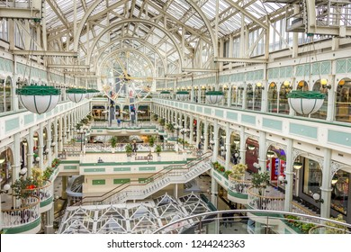 DUBLIN, IRELAND - 07 MAY, 2016: People walking in the Stephen's Green Shopping Centre. The complex is located in the Grafton Street, the most famous shopping area of the Irish capital.