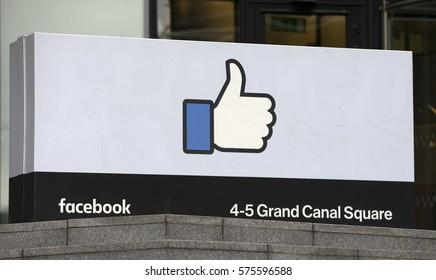DUBLIN, IRELAND - 09/02/2017 Facebook's EMEA (Europe, Middle East and Asia) headquarters at Grand Canal Square in Dublin, Ireland.