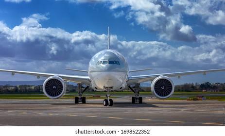Dublin, Ireland 09.04.2020  Qatar Airways in Dublin Airport  Largest passenger aircraft. Biggest passenger airplane. Boeing 777-300 ER
