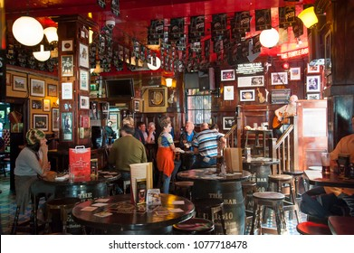 Dublin, Ireland 09/13/2014- The inside of an authentic Irish Pub in Dublin's city center