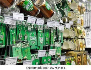 Dublin, Ireland 09/13/2014- Irish souvenirs for sale inside a Dublin gift shop.