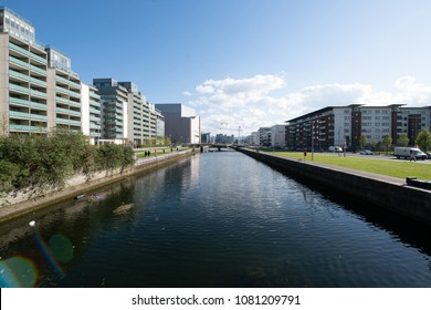 Dublin, Ireland - 1 May 2018: View at the Spencer Dock apartments and river Liffey, North Dock, Dublin