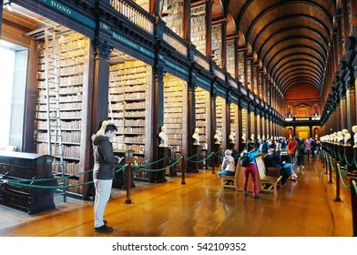 DUBLIN, IRELAND -1 NOV 2016- The Old Library building at Trinity College in Dublin includes the Book of Kells exhibit and the landmark Long Room. Star Wars used it as a model for the Jedi Library.