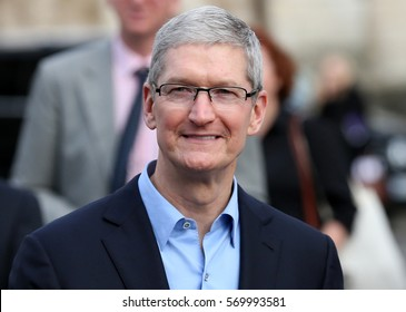 DUBLIN, IRELAND - 11/11/2015 Apple CEO, Tim Cook, arrives for a Q&A with members of the Trinity College Dublin Philosophical Society and receive the Gold Medal of Honorary Patronage