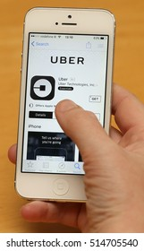 DUBLIN, IRELAND - 11/11/2016The app for online transportation company, Uber, shown on an iPhone screen.