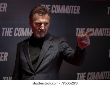 DUBLIN, IRELAND - 12 JANUARY 2018: Actor Liam Neeson attends the Irish premiere of his film, The Commuter, at Cineworld. He greeted the media & spoke to journalists before introducing the film.