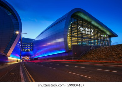 Dublin, Ireland - 12 March 2017: Terminal 2 Dublin Airport. It was officially opened on 19 November 2010