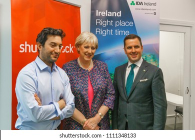 Dublin, Ireland - 12 May 2018: The opening of the new Shutterstock office in Dublin, Ireland. Jon Oringer, Minister Heather Humphreys and Martin D Shanahan.