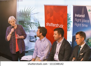 Dublin, Ireland - 12 May 2018: The opening of the new Shutterstock office in Dublin, Ireland. MInister Heather Humphreys speaks at the Shutterstock office opening event.