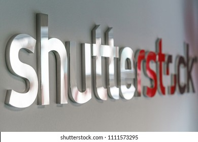 Dublin, Ireland - 12 May 2018: Shutterstock logo in the recently open Dublin office