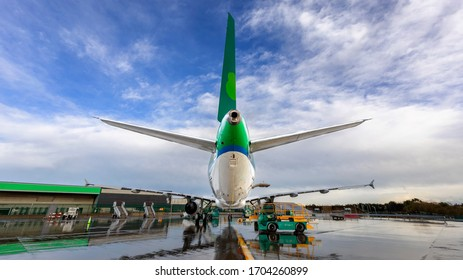 Dublin, Ireland 12.04.2020 Aerlingus in Dublin Airport, Aer Lingus  on the ground in Dublin.Travel vacations cancelled because of pandemic of coronavirus Flight cancellation Covid-19