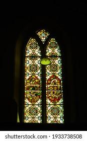 Dublin, Ireland -12.12.2020: Fresco of the church. Window in church.