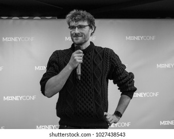 DUBLIN, IRELAND - 13 FEBRUARY 2018: Paddy Cosgrave, co-founder and CEO of Web Summit, speaks to media at the launch of MoneyConf in Huckletree, Dublin.