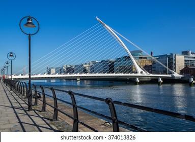 DUBLIN, IRELAND - 14 APRIL 2015: Samuel Beckett Bridge crossing the River Liffey in Dublin, Ireland