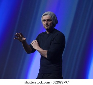 DUBLIN, IRELAND - 15 FEBRUARY 2017: CEO of Vayner Media and serial entrepreneur, Gary Vaynerchuk, speaks at the Dublin Tech Summit in the Convention Centre, Dublin.
